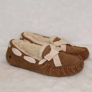 UGG PERF METALLIC SUEDE BOW SLIPPERS CHESTNUT